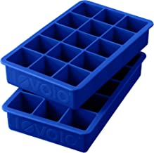 """Tovolo Perfect Cube Ice Mold Trays, Sturdy Silicone, Fade Resistant, 1.25"""" Cubes, Set of 2, Stratus Blue"""
