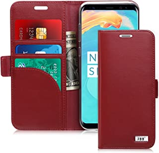 FYY [Genuine Leather] Wallet Case for Samsung Galaxy S8 2017, Handmade Flip Folio Wallet Case with Kickstand Card Slots Magnetic Closure for Samsung Galaxy S8 2017 Wine Red