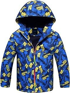 Jingle Bongala Kids Boys Girls Outdoor Waterproof Jacket Fleece Lined Coat with Hood Light Windbreaker