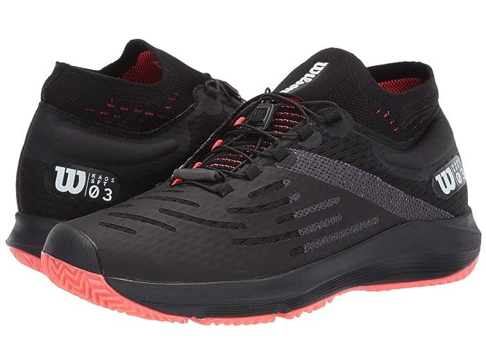 Wilson  Kaos 3.0 Sft (Black/White/Fiery Coral) Womens Tennis Shoes