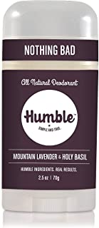 Humble All Natural Deodorant, Aluminum and Paraben Free, Cruelty Free Men's and Women's Deodorant, Essential Lavender and Holy Basil, 1-Pack