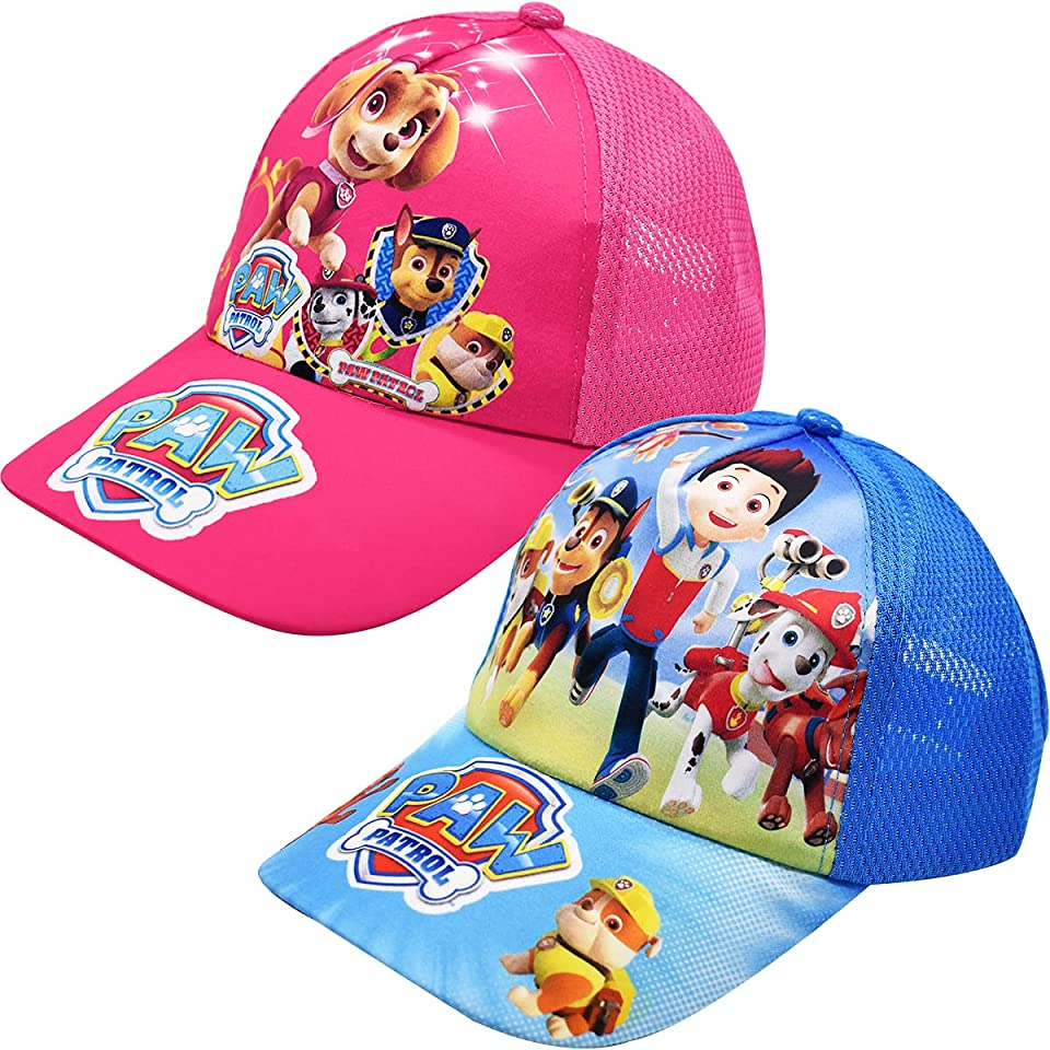 Miotlsy Kinder Cap paw Dog Patrol für Kinder Geschenk für Jungen Mädchen Kappe Baseball Cap Basecap Kinder-Geburtstag Schule Sport Sonnenschutz(Pink und Blau)
