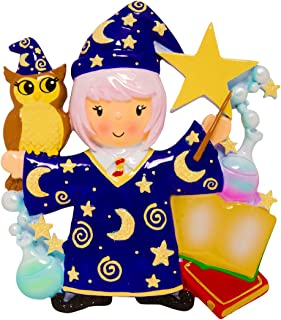 Personalized Wizard Girl Christmas Tree Ornament 2019 - Fiction Witchcraft Wizardry Costume Owl Magician Wand Star Book Hogwarts Harry Best Toddler Potter Cartoon Toy Gift Year - Free Customization
