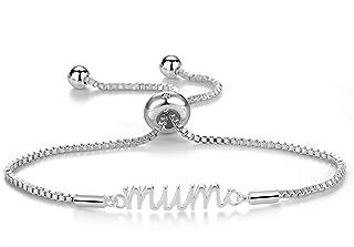 Philip Jones Silver Mum Bracelet Created with Austrian Crystals