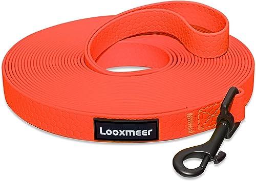 Looxmeer Longe pour Chien 10m, Laisse Chien avec Poignée et Sac de Rangement, Laisses de Dressage Etanches pour Chien...