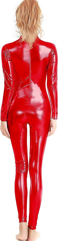 speerise Womens Shiny Metallic Catsuit Long Sleeve Unitard Bodysuit