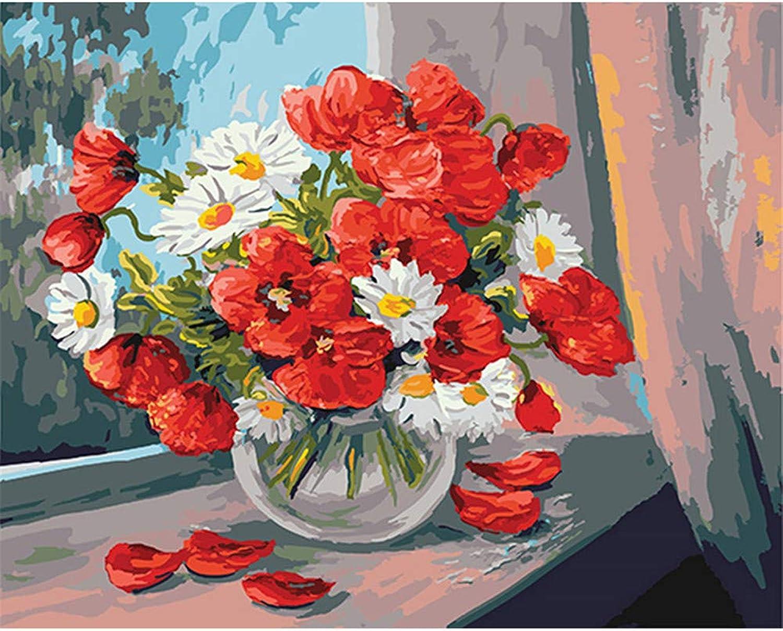 Malen Nach Zahlen Rote Und Weiße Blaume Pflanze In Glasvase DIY Für Erwachsene Wohnkultur-Framed B07Q4HMDLX | Stabile Qualität