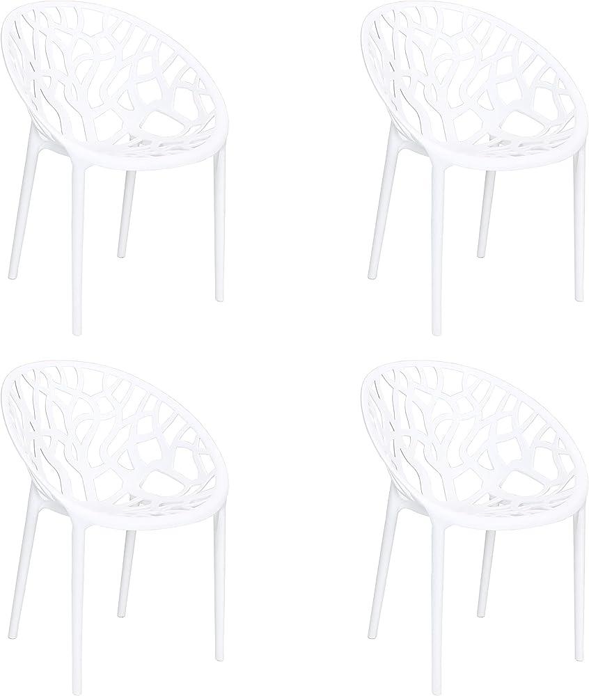 Totò piccinni, 4 sedie, poltroncine jungle, in polipropilene, bianche