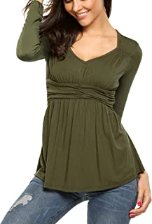 Women Deep V-Neck Empire Waist Ruched Slimming T-Shirt Blouse Top (7 Colors S-XXL)