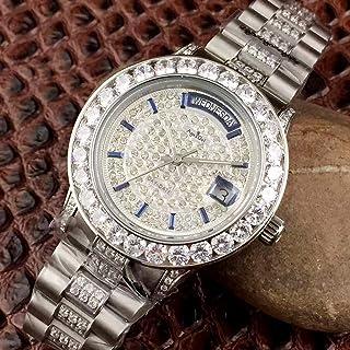 UEJDB - Reloj de Lujo con Fecha de día para Hombre, Oro, Plata, Diamantes completos, mecánico automático, Acero Inoxidable, Relojes de Cristal de Zafiro limitados