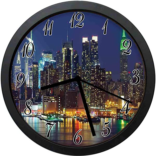 YiiHaanBuy York Decorative Wall Clock NYC Midtown Skyline In Evening Skyscrapers Amazing Metropolis City States Photo 10inch No Ticking Suitable For Every Room