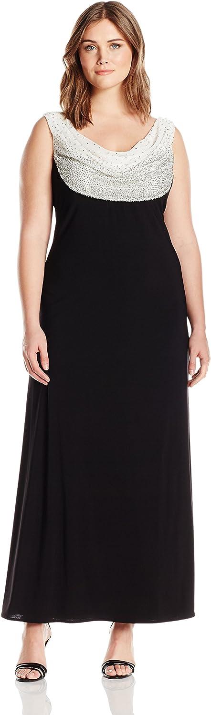 R&M Richards Womens Plus Size Beaded Cowl Neck Dress Dress