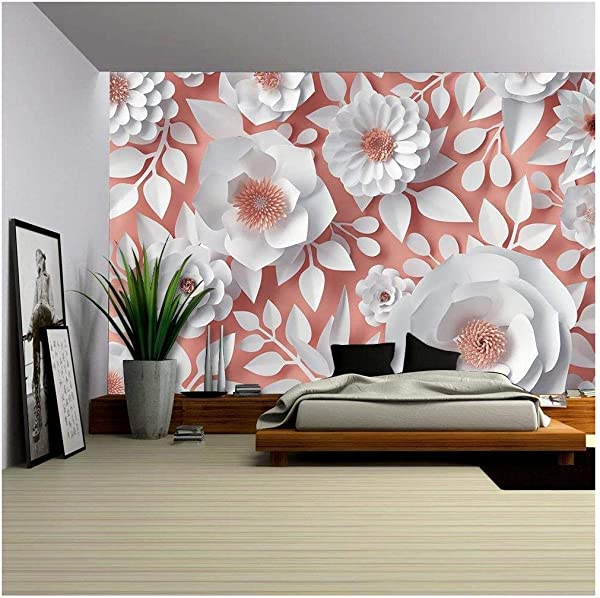 Wall26 White Flowers Bridal Bouquet Vinyl Wall Mural 100x144 Inches