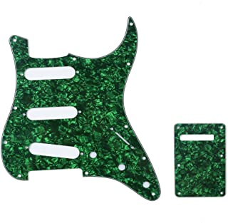 Musiclily SSS 11 Hole Strat Guitar Pickguard and BackPlate Set for Fender USA/Mexican Standard Stratocaster Modern Style, ...