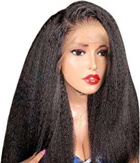 Kinky Straight Lace Front Human Hair Wigs For Women Black Color Remy 13x4 Lace Wigs With Baby Hair Full End,#1,16inches