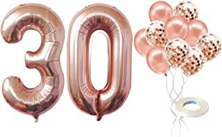 Number 30 Balloon for 30th Birthday Decorations - Rose Gold, Large, 40 inch, Pack of 12 | Rose Gold Confetti Balloons | Ro...