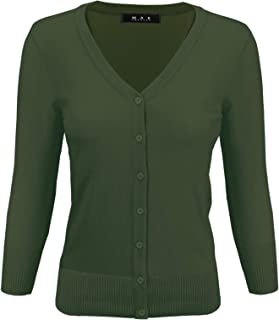 Women's 3/4 Sleeve V-Neck Button-Down Knit Cardigan Sweater (S-3X)