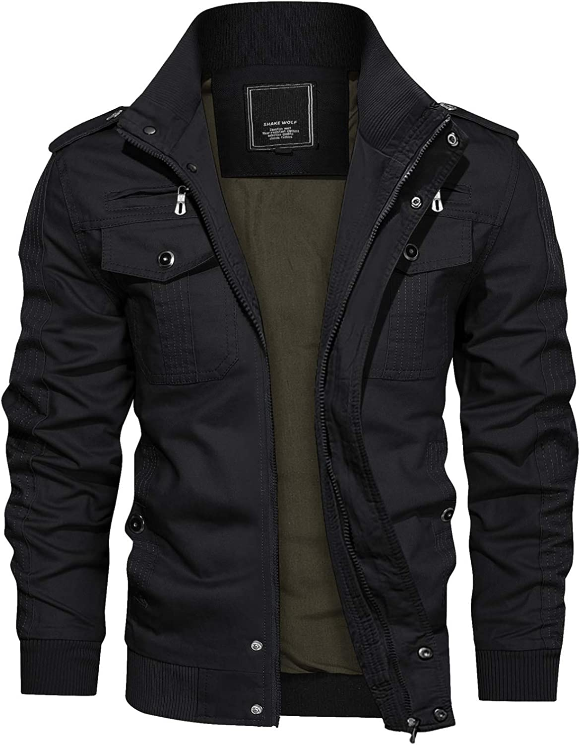 Max 43% OFF Time sale CRYSULLY Men's Spring Fall Casual Jacket Stand Cargo Windbreaker