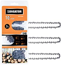 """Best SUNGATOR 3-Pack 10 Inch Chainsaw Chain SG-S40, 3/8"""" LP Pitch - .050"""" Gauge - 40 Drive Links, Compatible with Remington, Craftsman, Poulan, Worx, Ryobi Review"""