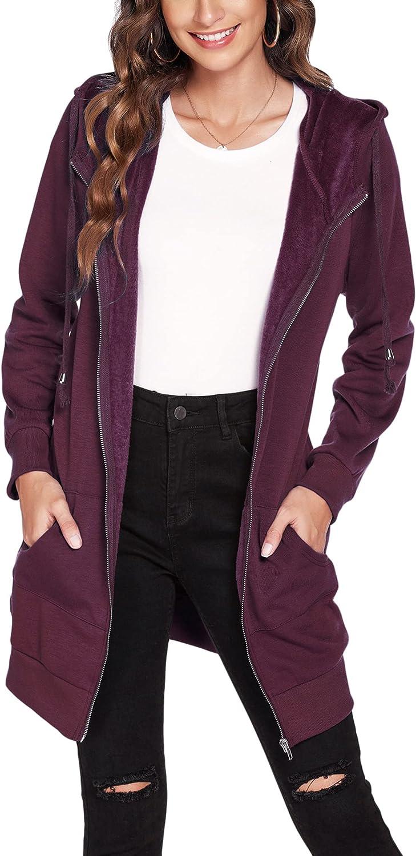 ACEVOG Women's Long Hoodies Casual Zip Up Sweatshirt Fleece Tunic Jacket with Pockets