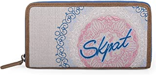 SKPAT Portmonnaie für Damen Reißverschluss. Geldbeutel. Brieftasche. Kunstleder PU  Segeltuch. Kulturtasche. Geldtasche. 25701, Color Blau