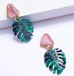 Raw Rose Quartz Earrings, Monstera Leaf Statement Earring