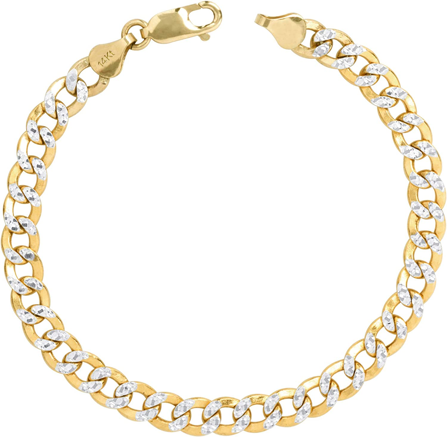 Nuragold 14k Yellow Gold 7mm Beauty products Cuban P Diamond Cut Curb Chain Link Challenge the lowest price of Japan