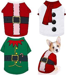 Pedgot 3 Pieces Dog Christmas Shirt Printed Puppy Shirt Pet Christmas Clothes Holiday Dog Cat Pet Shirts with Assorted Pat...