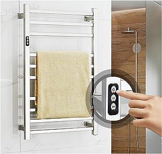 Toallero calefactado,Acero inoxidable Montado pared Calentador de toallas térmico termostático eléctrico,Radiador de toalla calefactor impermeable,Secadora Eléctrica Térmica Calentador Baño 10 barras