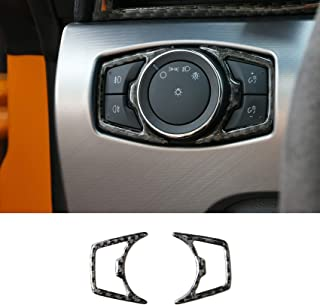 MEEAOTUMO Carbon Fiber Headlight Switch Cover Interior Accessories for Ford Mustang 2015-2021 (Headlight Switch)