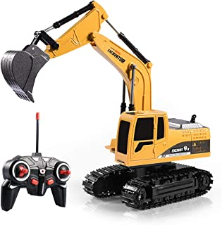 Zosam Excavator Toy Remote Control Truck RC Excavator with Metal Shovel Lights Sounds Rechargable Engineering Sand Digger ...