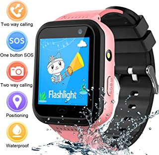 Kids Smart Watch Waterproof Phone, IP67 Waterproof Smartwatches Android Phone, LBS Tracker SOS Anti-Lost Camera Flashlight Games Watches, Learning Toy for Girls Birthday Gifts with iOS/Android