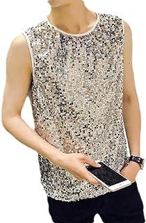 HOUJ Mens Premium Nightclub Sequins Shiny Fashion Sleeveless Tank Tops