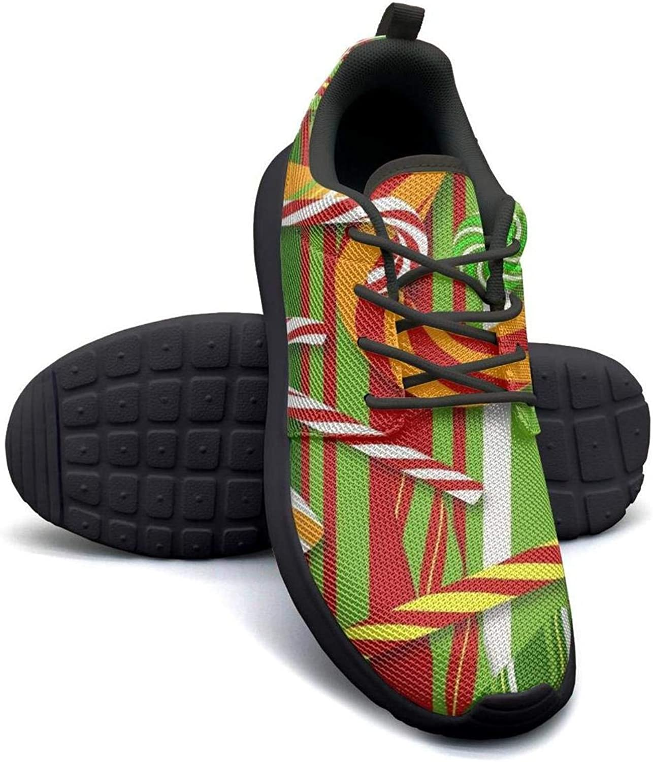 Gjsonmv Christmas Candy Cane mesh Lightweight shoes for Women Comfortable Sports Badminton Sneakers shoes