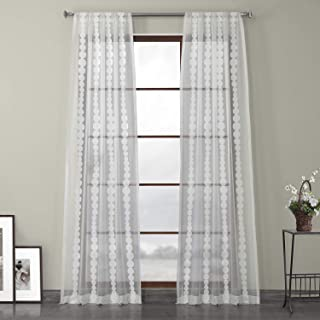 HPD Half Price Drapes SHCH-EMBOCS3595A-108 Embroidered Sheer Curtain (1 Panel), 50 X 108, Cleopatra Cream