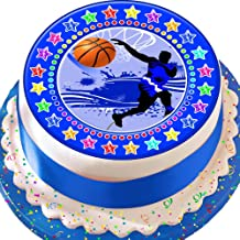 Cannellio Cakes Basketball Blue Star Border 7.5 Inch Precut Edible Icing Cake Topper Decoration