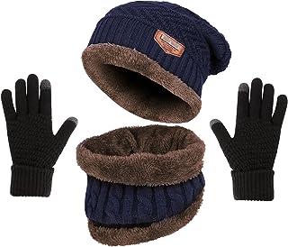OUNENO Winter Knit Beanie Hat Neck Warmer Loop Scarf Touch Screen Gloves Set Fleece Lined Snow Skull Cap for Men Women