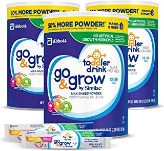 Go & Grow by Similac Milk Based Toddler Drink, (Pack Of 3) 36oz cans + 2 On-The-Go Stickpacks