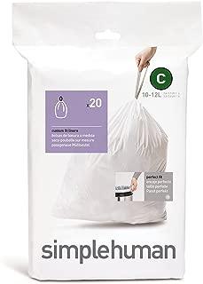 Simplehuman Code C Custom Fit Liners, 3 Refill Packs (60 liners), 10-12 Liter /pack of 3