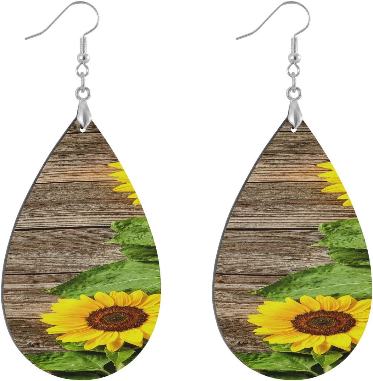 Autumn With Sunflowers On Wooden Board Earrings For Women Fashion Fashion Painted Dangle Geometric Personalized Women's Drop & Dangle Earrings Water Drop/leaf Hoop Earrings For Women Lady Girls