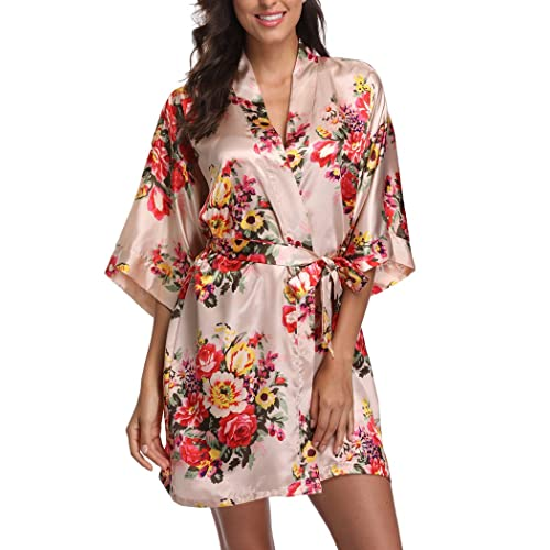 d544a4e447 Laurel Snow Floral Satin Kimono Robes for Women Short Bridesmaid and Bride  Robe for Wedding Party