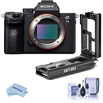 Sony Alpha a7 III 24MP UHD 4K Mirrorless Digital Camera (Body Only) - with Gitzo Aluminum L-Bracket a7R III & a9, Cleaning Kit, Microfiber Cloth