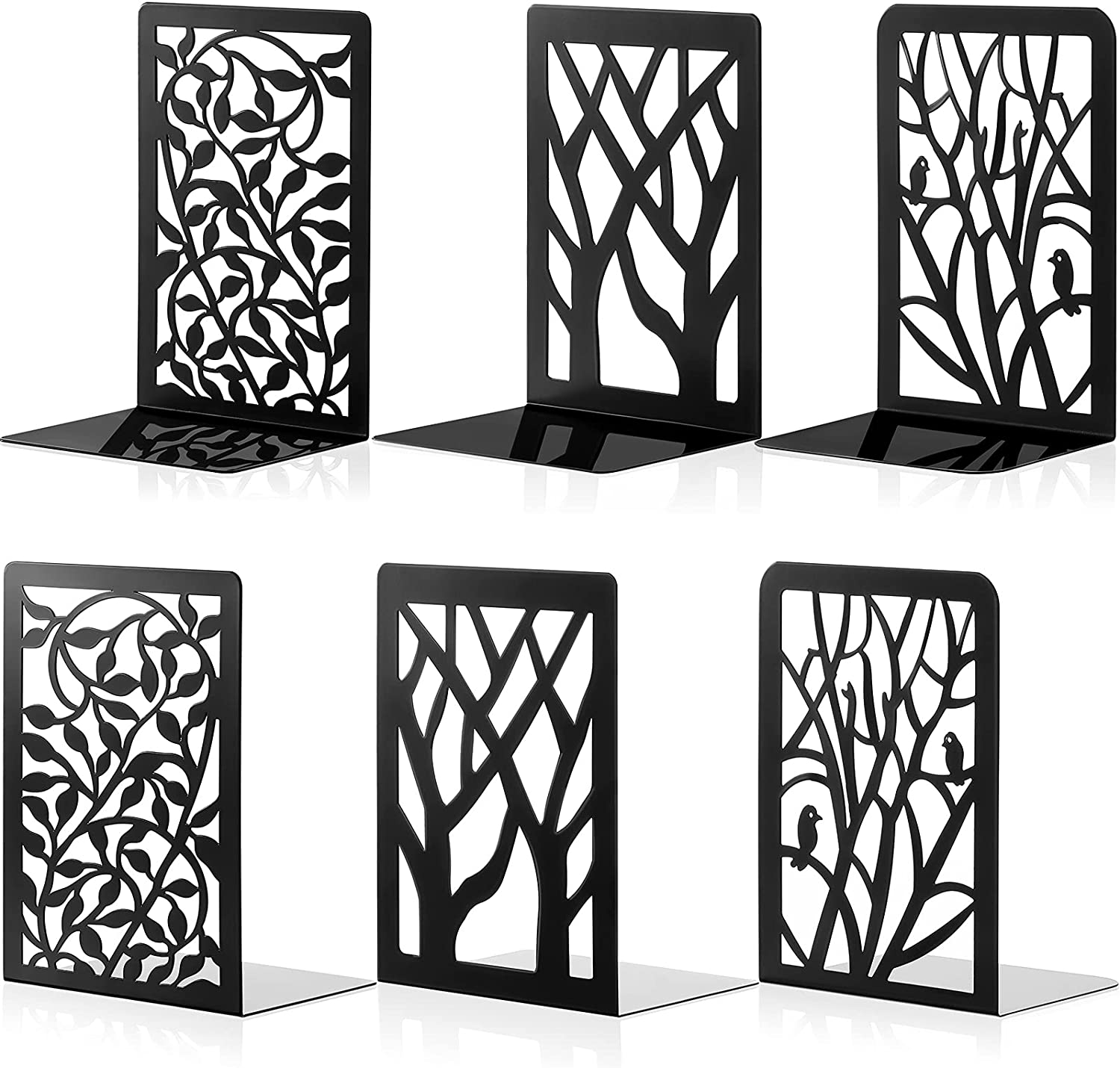 3 Pairs Metal Bookends El Large special price !! Paso Mall Decorative Leaf Tree Holder Book