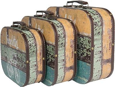HMF 6431700 Maleta Vintage de Madera   Juego de 3   Diferentes ...