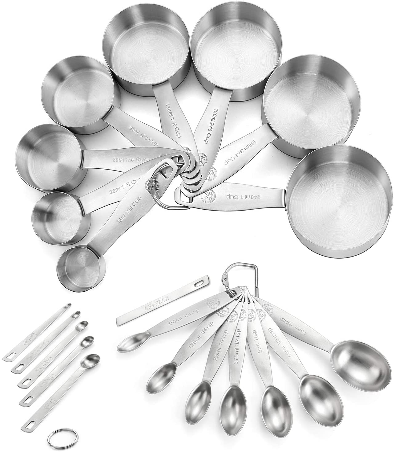 Measuring Cups and Spoons Set of 21 8 Direct Cheap sale stock discount 18 Piece in Stee Stainless