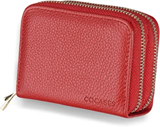 Women Wallet, COCASES RFID Blocking Secure Genuine Leather Double Zipper Small Credit Card Purse (Red)