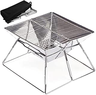 JEEF Portable Original Folding Charcoal BBQ Quick Grill, for Tailgating, Camping, and Backpacking, Made from Stainless Steel