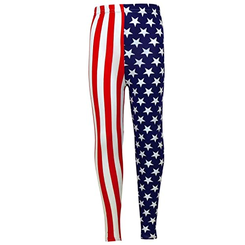 Girls USA Legging Kids Stripes /& Stars Print American Leggings New Age 7 8 9 10 11 12 13 Years