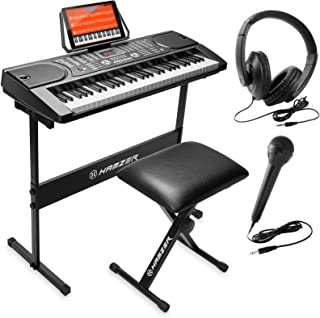 Sponsored Ad - Hamzer 61-Key Portable Electronic Keyboard Piano with Stand, Stool, Headphones, Microphone & Sticker Sheet