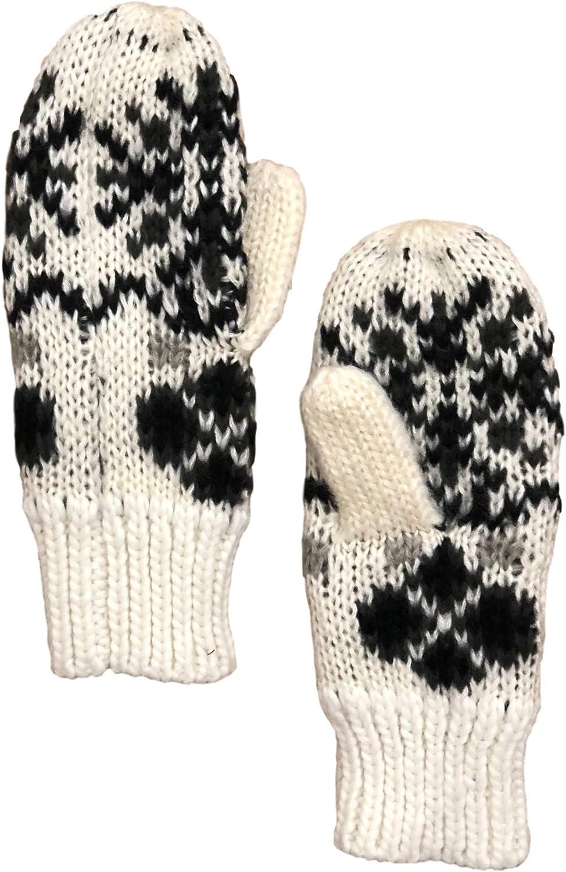 Womens Soft Ivory & Gray Snowflake Knit Mittens